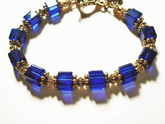 Blue Bracelet Glass Jewelry Vintage Style Gold by BeadPassionbyAB