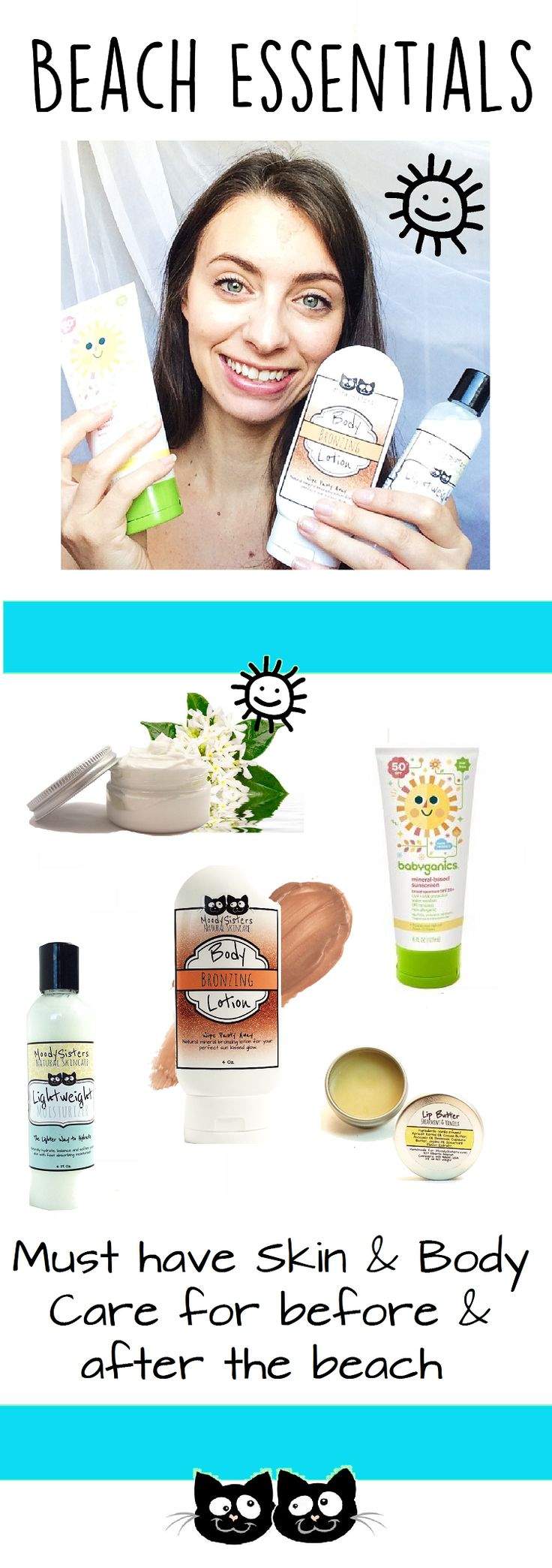If you're headed out to the beach this summer then read on for your must have skin products to have a flawless time. I'm getting ready to pack up next week for the Oregon coast so I wanted to share with you your must have beach items for before and after a trip to the beach that you'll want to have on hand.  MoodySisters.com/blog