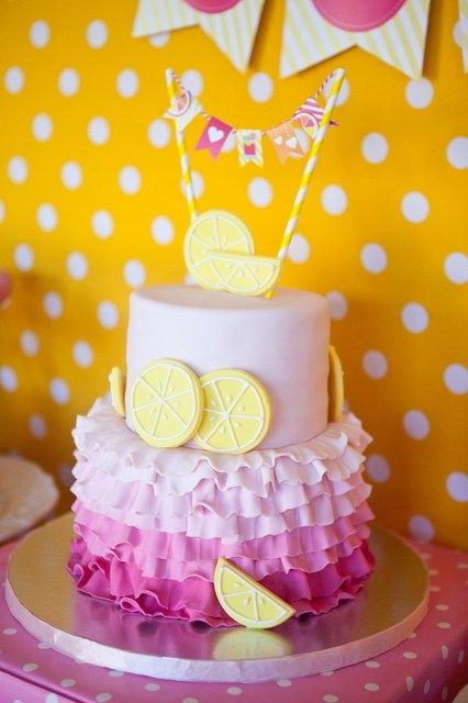 Ombre ruffle cake at a Sunshine and Lemonade Birthday Party! See more party ideas at CatchMyParty.com!
