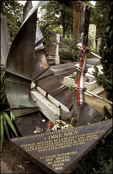 Imre Nagy (1896 - 1958). Nagy's body was later moved to a corner of the Municipal Cemetery of Budapest, buried face-down, with his hands and feet tied with barbed wire, in an unmarked grave (along with 260 other victims). During June of 1989, Nagy was rehabilitated and his remains reburied in the same plot, after a funeral organised in part by anti-communists. Over 100,000 people (est.) attended. Later that year, communist rule ended. [Wikipedia]