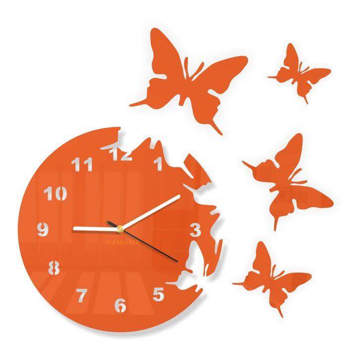 Hodiny z plexiskla Butterfly Orange / modern wall clock