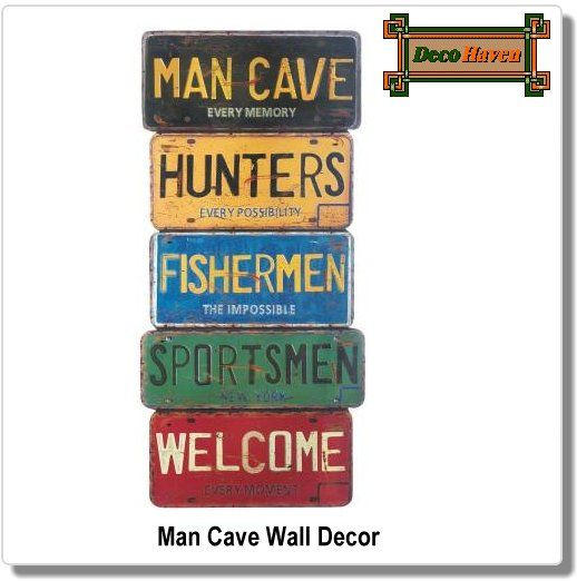 Man Cave Wall Decor - Rev up the style in your man cave, game room, or den with this cool license plate wall decor. This collection of weathered plates are made from wood and will welcome your buddies in for a good time.
