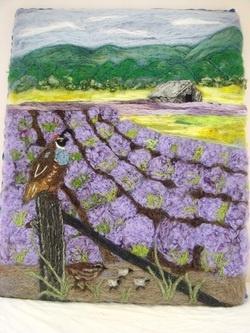 Wool art, needle felt art, wool painting, needle felted art, lavender fields, needle felted painting, needle felt painting,www.feltedfantasies.com