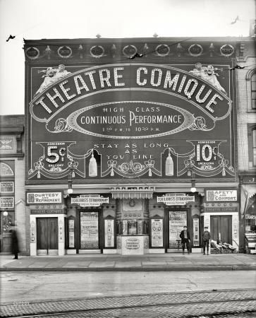 "1910 Vaudeville House in Detroit, MI.;  ""Stay as long as you want"" under the marquee....Theatre Comique"