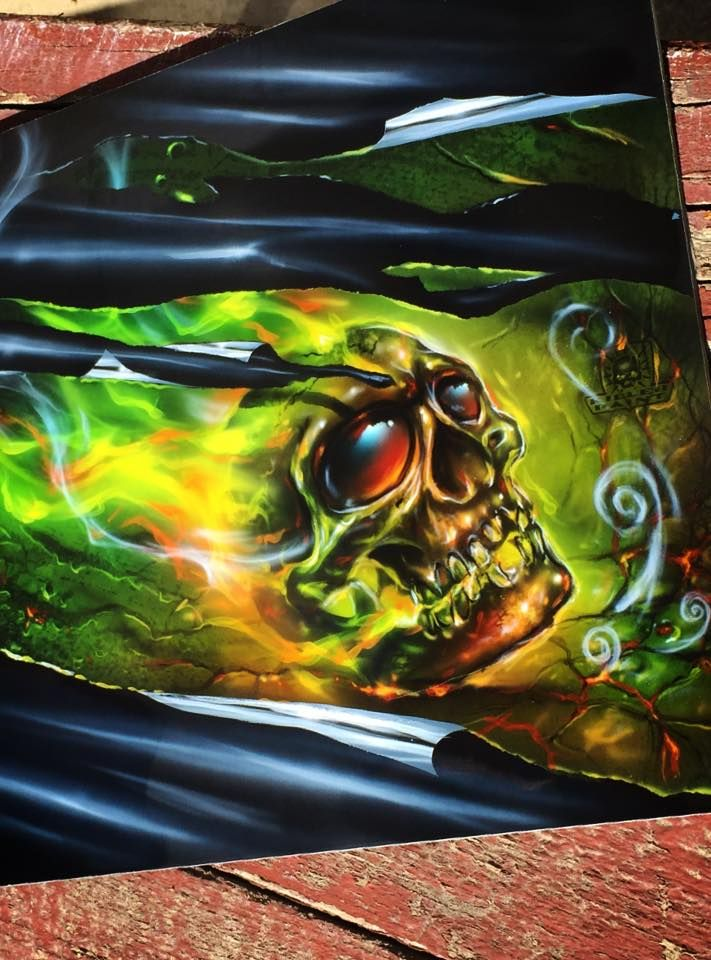 Airbrushed Skull with Metal Shreds - Painted by Mike Lavallee of Killer Paint - www.killerpaint.com