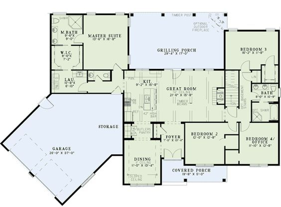 Split floor plans with angled garage 60615nd ranch for Ranch floor plans with bonus room