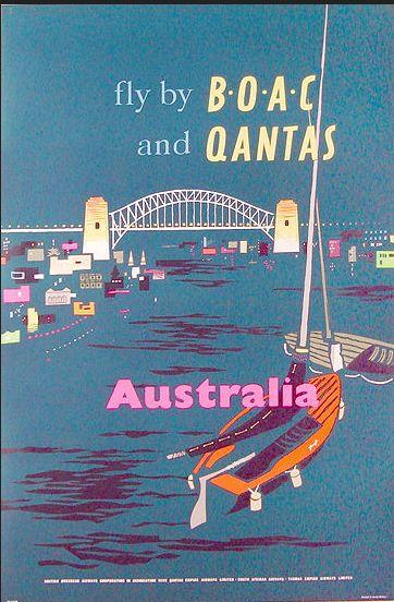 Fly with BOAC and Qantas to Australia, 1950s. #boac #qantas #australia #sydney #harbourbridge #sydneyharbour #1950s