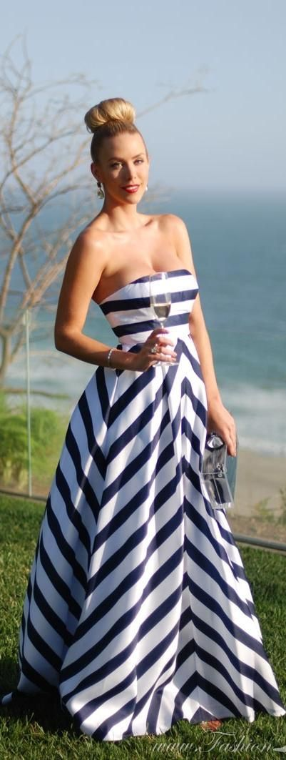 I feel like I could wear this somewhere classy, like the fucking Catalina Wine Mixer. >>>>> The Striped Gown | Fashion Addict summer nautical style