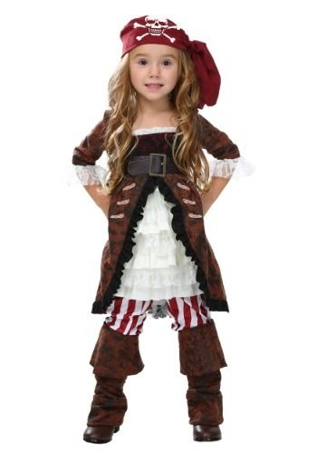 "Her high seas adventure will begin as soon as she puts on this Toddler Brown Coat Pirate Costume for girls and says, ""Arrr!!"""