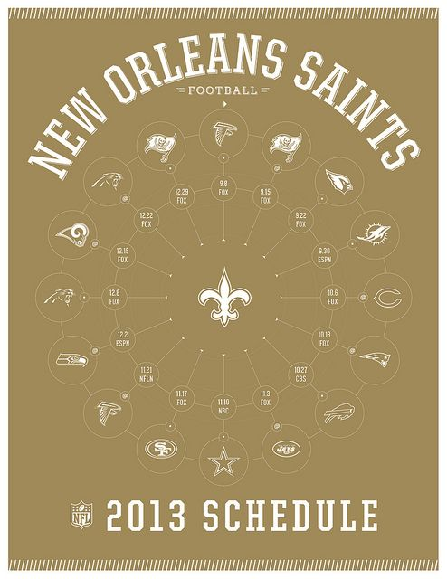 New Orleans Saints 2013 Schedule #NewOrleans #Saints #Football #NFL