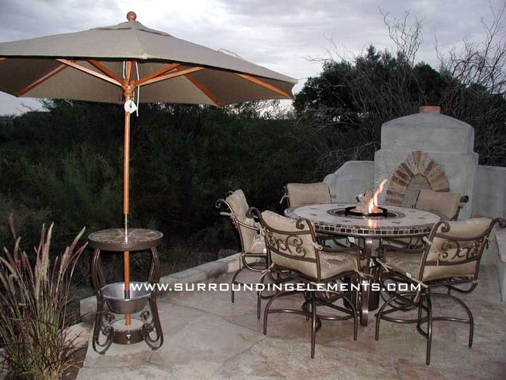 Round Mosaic Table, Mediterranean Design With Fire Logs And Side Stand With  Umbrella And Ice Bucket Item# TAB3 Outdoor Decor, Patio Furniture, ...