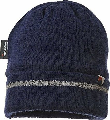 Portwest Workwear Mens Knitted Hat Reflective Trim Navy One