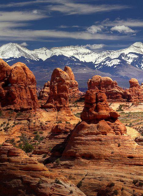 Rock Pillars & Frozen Peaks ~ Arches National Park, Utah, United States of America.