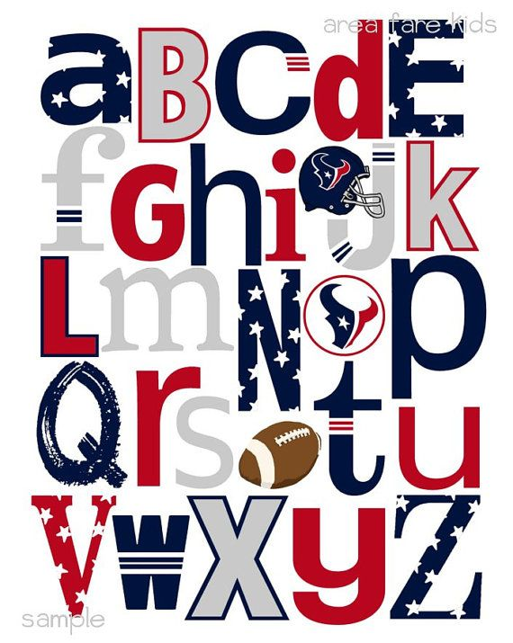 HOUSTON TEXANS football ABC Nursery Art Print
