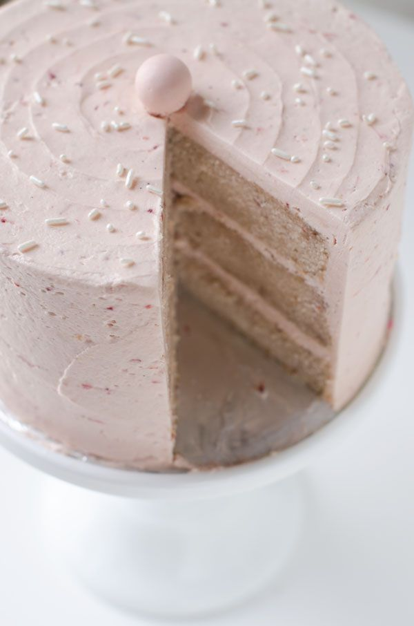 Strawberry Layer Cake with Malted Strawberry Frosting