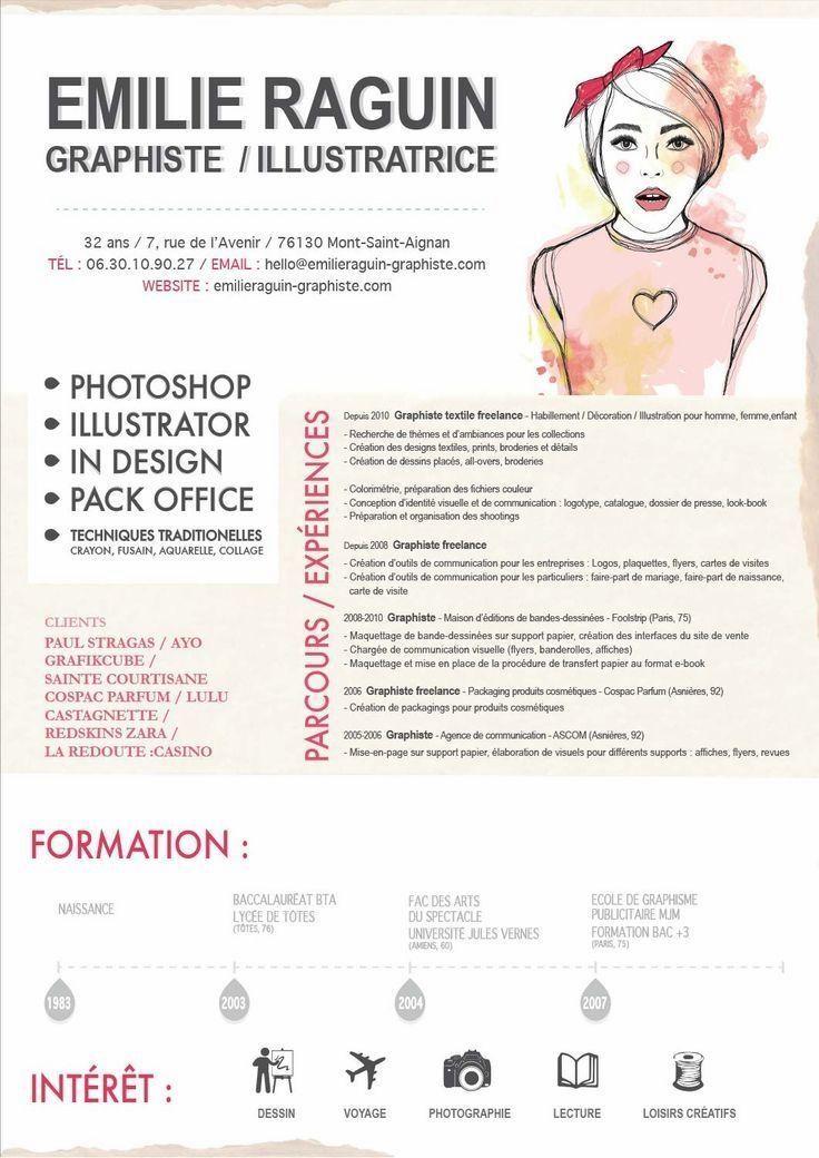Emilie Raguin Designer Graphiste Cv Resume Design Graphic Design Resume Resume Design Creative