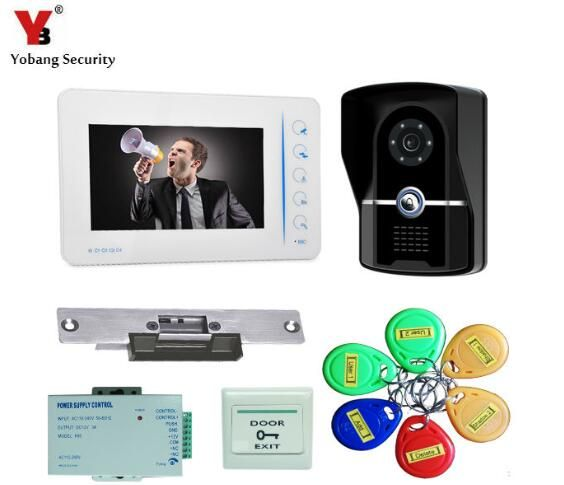 YobangSecurity 7 Inch Wired Video door Phone Doorbell Intercom 1-Camera 1-Monitor Home Security With Electronic Lock,RFID Keyfob