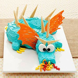 A Medieval Dragon Birthday Party: Candy-Breathing Beast Cake.. Ren's 5th Birthday but he wants the dragon red.