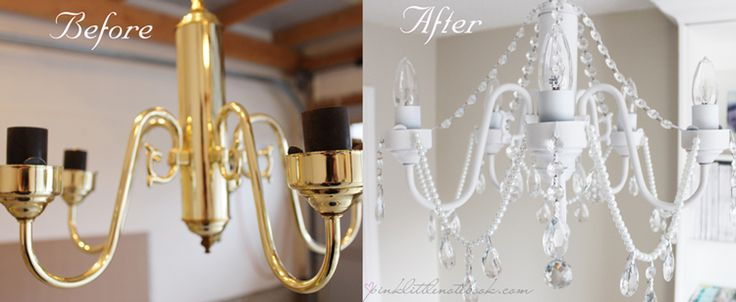 DIY white chandelier with crystals and pearls / Pink Little Notebook- Light fixture makeover. Get link to products--> SPRAY PAINT: http://amzn.to/28SytsO #affiliatelink