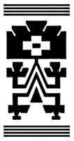 Diseño mapuche. Es el lugar donde la persona se arrodilla. Este diseño tiene un significado que remite a la esfera de lo religioso y también al primer ser humano de acuerdo con las creencias de la comunidad mapuche. Gentileza Fundación Chol Chol, Chile. - Guardas aborígenes