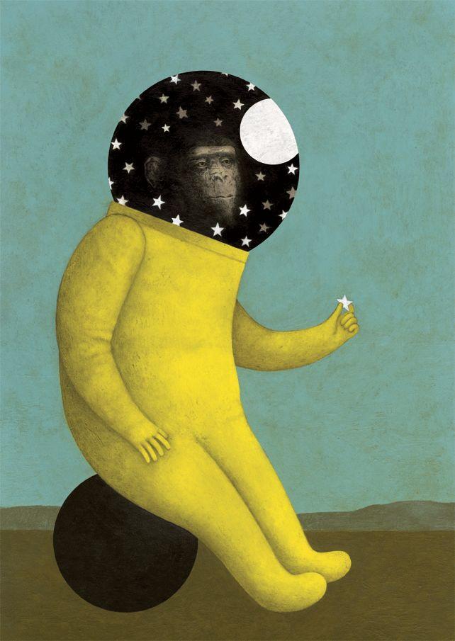"""simone rea illustratore: """"Sentimenti"""". Paura, così si vince lassù nel cosmo..."""