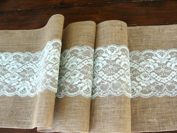Wedding table runner, mint rustic chic wedding tablecloth, burlap and lace table runner,  handmade in the USA, via Etsy