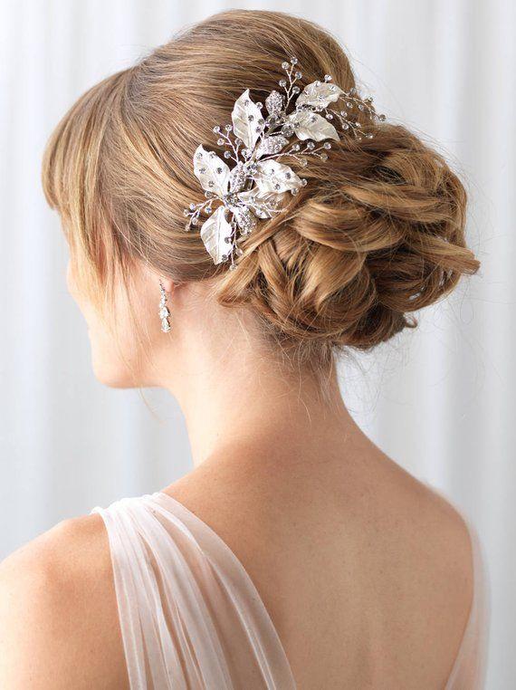 d500e63425 Floral Bridal Hair Clip, Silver Leaf Hair Clip, Wedding Hair Comb ...