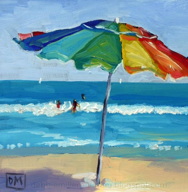 Lifes a Beach - daily painting. beach umbrella painting by Debbie Miller