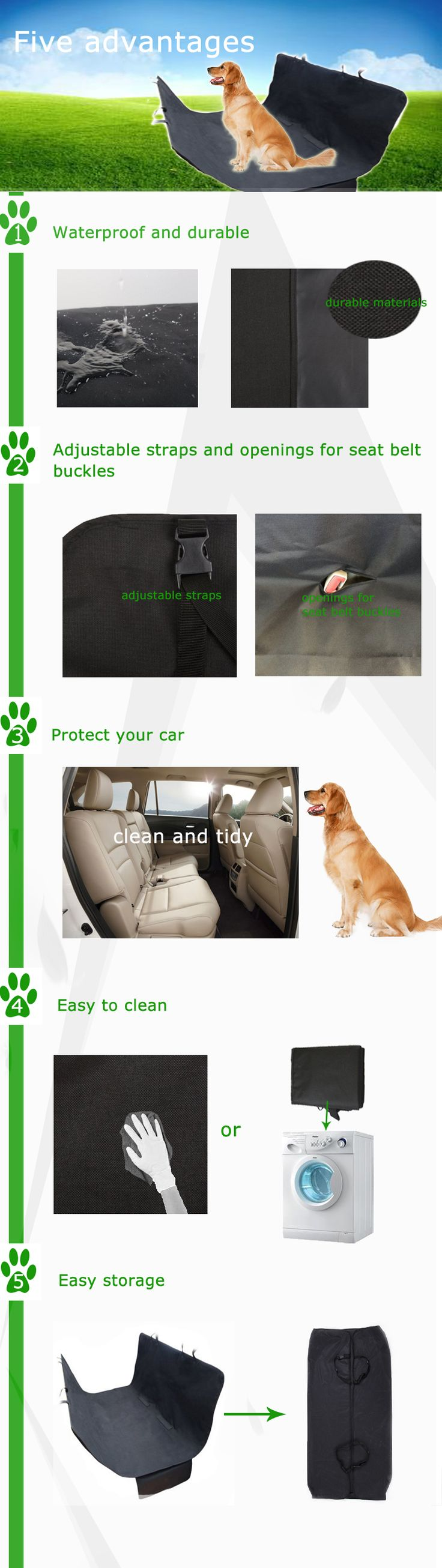 For Amazon And EBay Stores Waterproof Car Dog Seat Cover Cat Pet Protector Travel Hammock