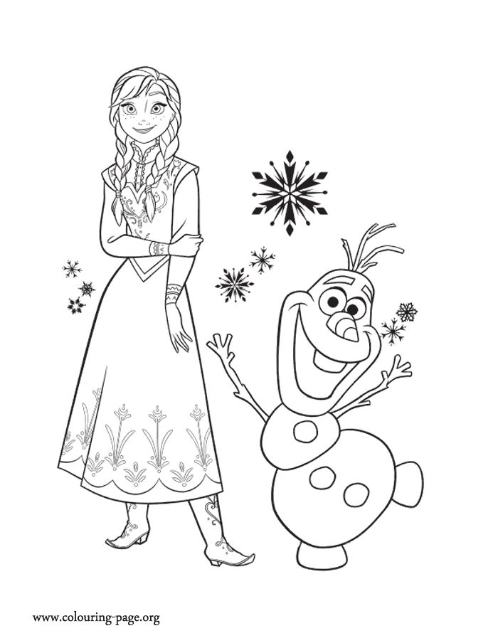 Print And Color This Amazing Picture Of Princess Anna Her Friend Olaf Enjoy Frozen Coloring SheetsPrincess