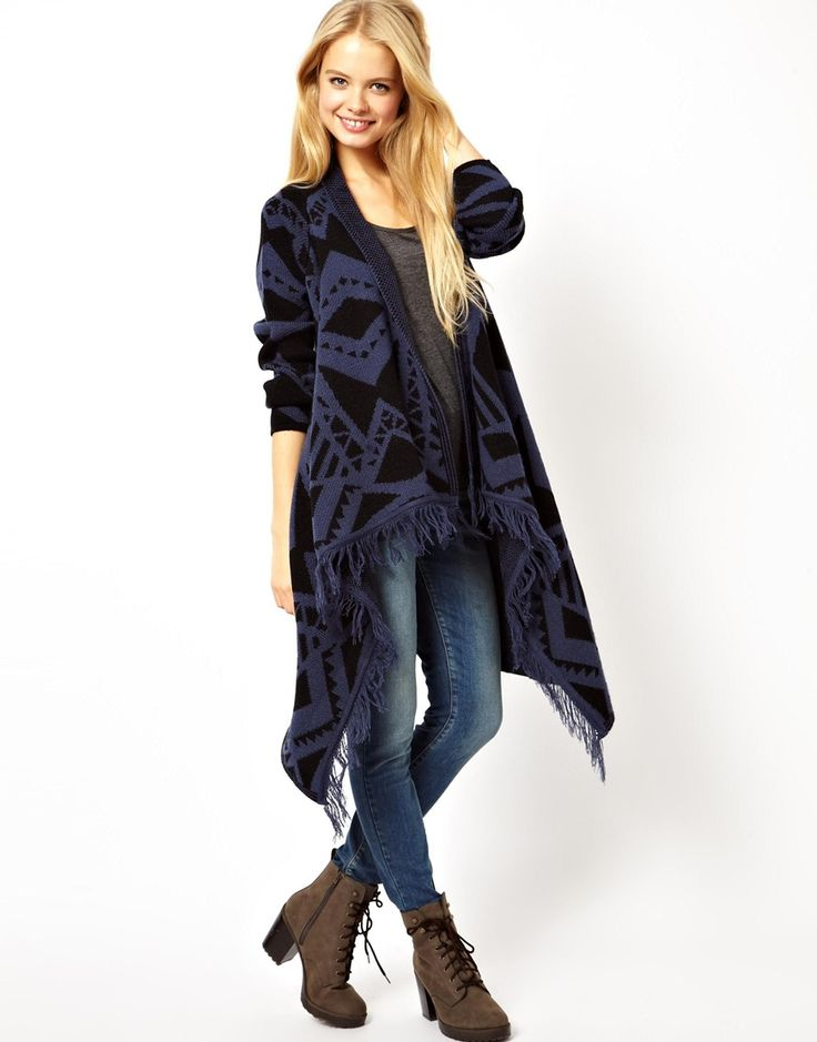 ASOS Midi Blanket Wrap Cardigan with Fringing