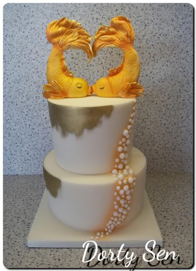 Wedding cake with fish by Alena Boháčová - Dorty Sen - http://cakesdecor.com/cakes/282039-wedding-cake-with-fish