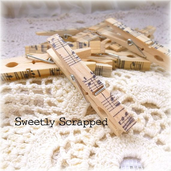 Clothespins with Sheet Music  Hand Stamped