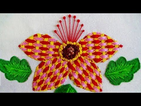 Hand embroidery designs. Beautiful flower stitch. (Net stitch or detached button hole stitch) - YouTube