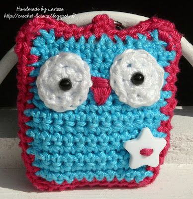 Owl key chain, link to pattern on blog