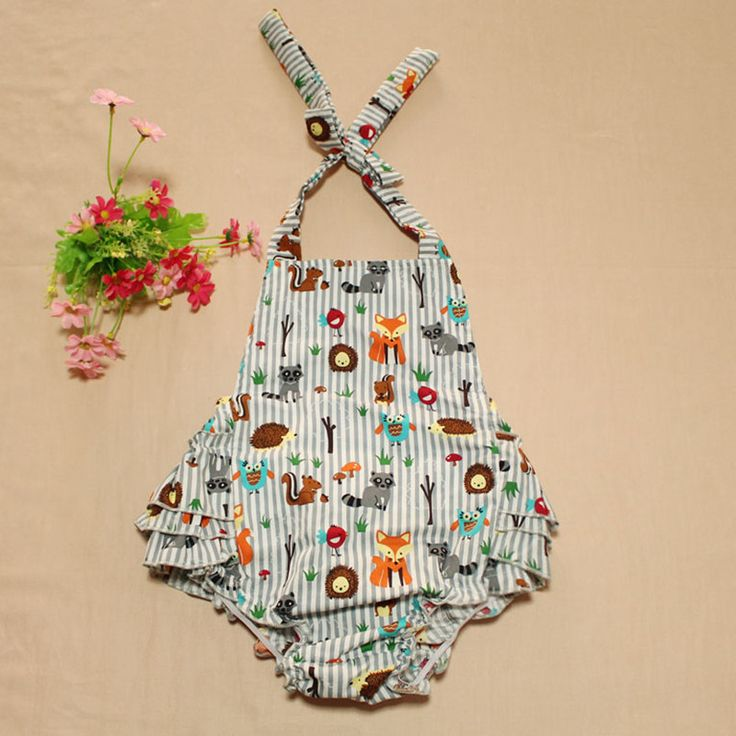 Baby Girls Clothes Fox Cotton Baby Romper Ruffle bottom Baby Girls playsuit halter back Ruffle Toddle Outfit summer sun suit
