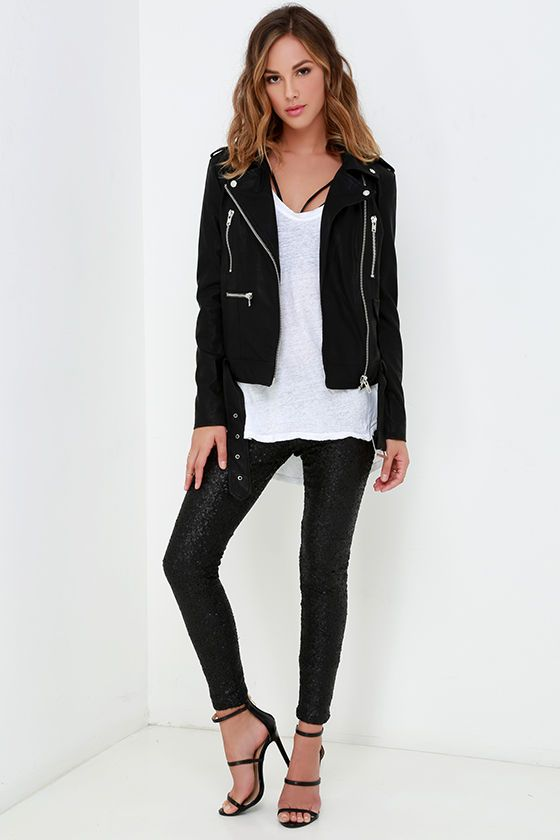 Jacket. Tee. Brawlette. Sequin Pants. <3 FLAWLESS! Amuse Society Charley Black Sequin Leggings at Lulus.com!