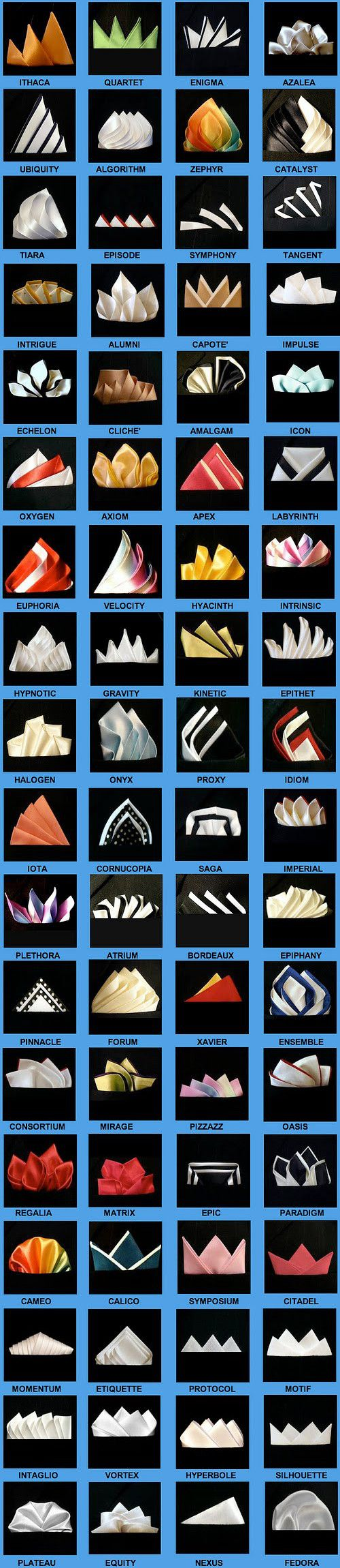 72 ways to fold a pocket square