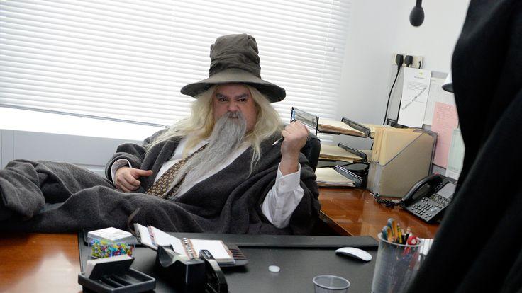 After saving Middle-earth, Bilbo (Martin Freeman), Gandalf (Bobby Moynihan), Gollum (Taran Killam), Legolas (Kyle Mooney) and Tauriel (Kate McKinnon) take up office jobs.