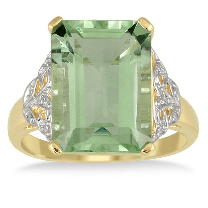 7 Carat Emerald Cut Green Amethyst and Diamond Ring 10K Yellow Gold #SzulJewelry
