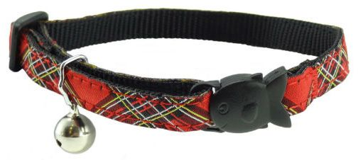 Red tartan cat collar with fish-shaped saftey release and bell.