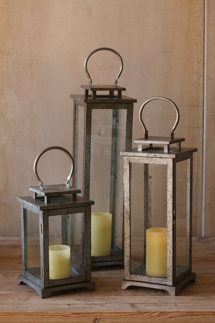 """Be sure to have plenty of these lanterns on hand to light up your home or yard using an led light Large lantern only. Product Description • Product Dimensions: 7"""" x 7 x 29.5"""" T • Material: Metal • SKU"""