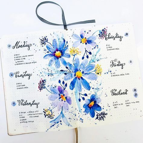 25 Beautiful Watercolor Bullet Journal Layout Idea…