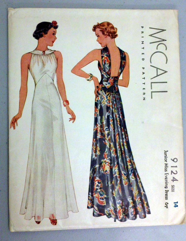 late 1930s evening dress pattern