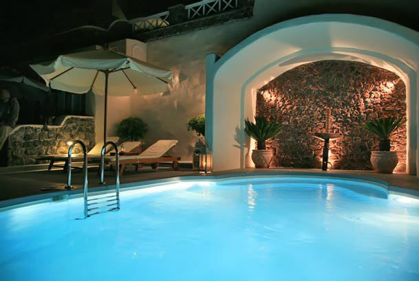 The pool of Delfini Villas Hotel in Santorini, Oia  http://www.delfinihotel.net/
