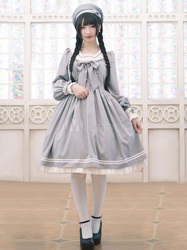 ロリィタファッション 袖ありのワンピース ライトグレー 綿混紡 セーラー風 カジュアル