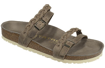 Tatami Zulia Tobacco Braided Oiled Leather This simple yet charming new sandal looks really, really great on the foot! The unique leather double straps sit to each other and combine a delicately woven one with the practical adjustability of a buckled one. #birkenstock #birkenstockexpress.com $160