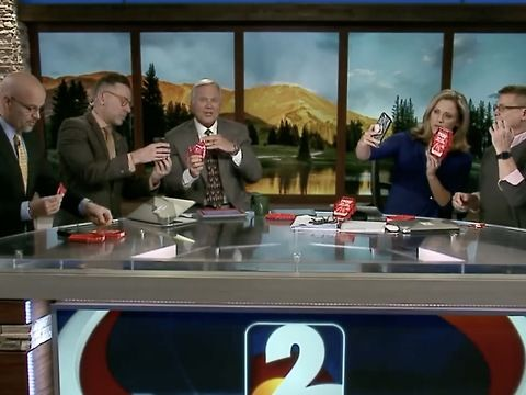 There's just something glorious about watching local news anchor suffer through embarrassing or painful situations.<br><br>KGWN in Denver recently decided to make five of its anchors do the Paqui One Chip Challenge. The lone chip is flavored with the world's hottest pepper, the Carolina reaper. Despite it being only a single corn chip, the snack can bring people to tears, make them chug milk, vomit, and completely ruin their day.<br><br>As you could have guessed, things did not go so well…
