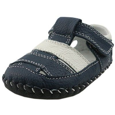 Orgrimmar Baby Boys Girls First Walkers Soft Sole Leather Baby Shoes (Size M, D White Blue)