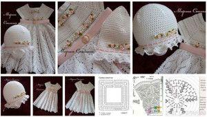 moldes y esquemas conjunto nina a crochet vestidos